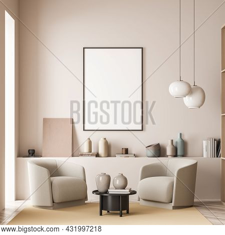 A Poster, Two Pendant Lamps And Two Armchairs With A Black Coffee Table On A Yellow Rug In A Living
