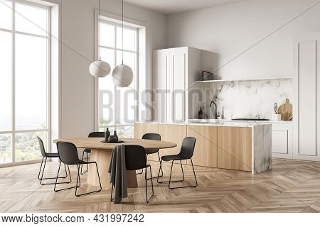 Corner Of A Panoramic Kitchen Interior With White Cabinet, Simplistic Upper Part, Two Pendant Lamps