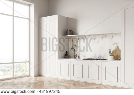 Panoramic White Kitchen Interior With One Tone Cabinets With Panels And Marble Backsplash, Worktop A