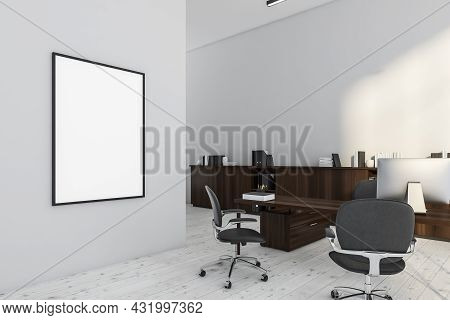White Board On The Wall Partition Of The White Office Interior With A Desk, Office Chairs, A Sideboa