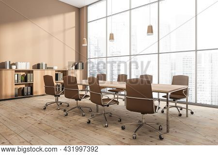 Corner Of A Panoramic Beige Conference Room With A Table With Office Chairs, A Sideboard Next To A B