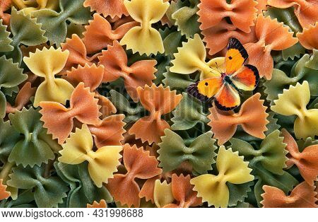 Butterfly-shaped Italian Pasta And Colorful Orange Butterfly. Colored Pasta Texture Background. Top