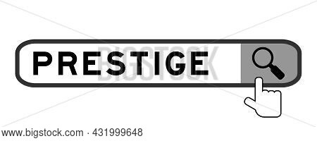 Search Banner In Word Prestige With Hand Over Magnifier Icon On White Background