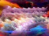 Abstract design made of dreamy forms and colors on the subject of dream imagination fantasy and abstract art poster