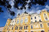 Pecs Hungary. City in Baranya county. City hall building. poster