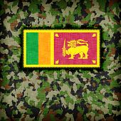 Amy camouflage uniform with flag on it Sri Lanka poster