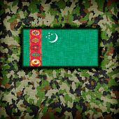 Amy camouflage uniform with flag on it Turkmenistan poster