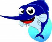 Vector Illustration of Cute Sword Fish , Marlin fish poster