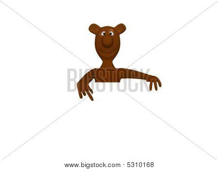 bear happy and smiling with card for text poster