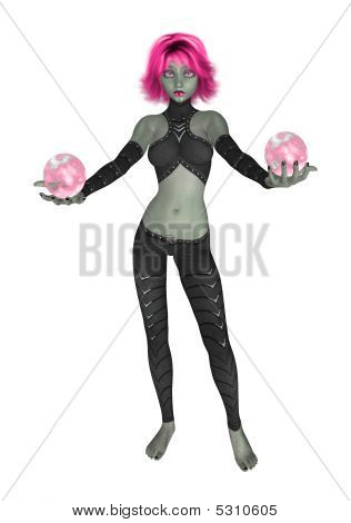 Goth Girl Holding Two Crystal Balls