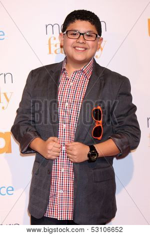 LOS ANGELES - OCT 28:  Rico Rodriguez at the Modern Family on USA Network Fan Appreciation Event at Village Theater on October 28, 2013 in Westwood, CA
