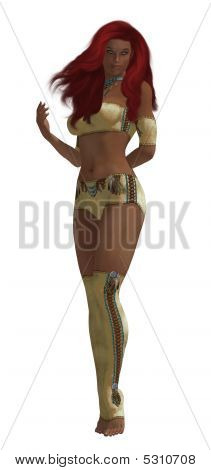 Female american indian standing up on a white background poster