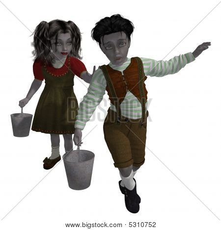 Jack n Jill on a white background poster