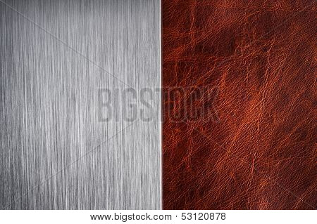 brushed metal and leather texture