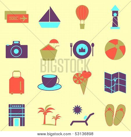 Holiday Colorful Icons On Light Background