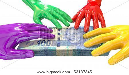 Hands Colorful Grabbing At South African Rands