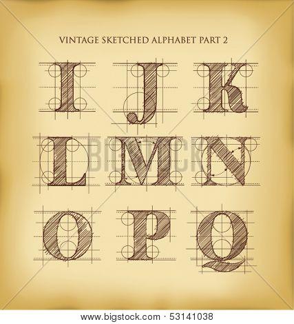 vintage drafted sketched letters set 2