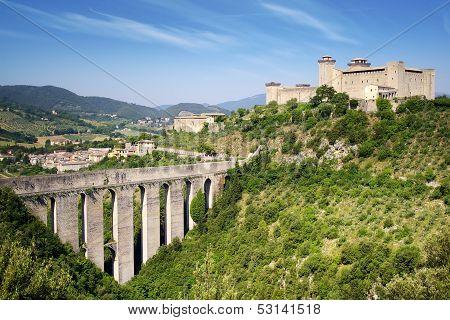 Aqueduct in Spoleto. Italy