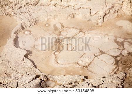Mud pot in Orakei Korako geothermal area in New Zealand