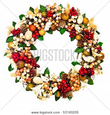 Wreath With Coral And Red Berries