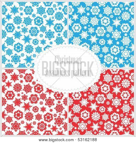Set Of Seamless Christmas Backgrounds.collection New Year Patterns With Snowflakes.vector