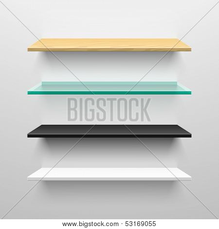 Wooden, glass, black and white shelves. Vector.