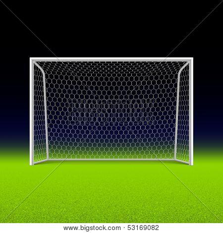 Soccer goal on black. Vector.
