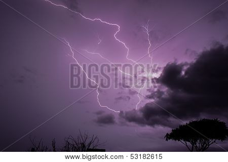 Lightning makes the sky purple