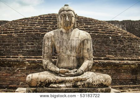 Ancient Buddha Statue At Polonnaruwa