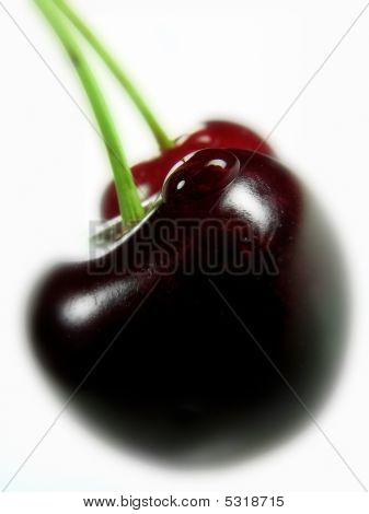Cherries With A Water Drop