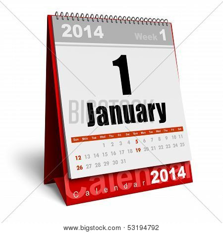 Creative abstract New Year 2014 beginning celebration business concept: red office desktop January 2014 month calendar isolated on white background poster