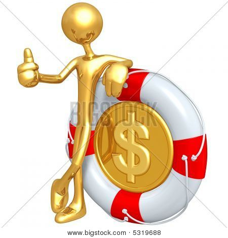 3D Character With Dollar Coin In Lifebuoy
