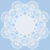 Greeting card with oriental floral pattern and space for text. Vector background in blue colors. poster
