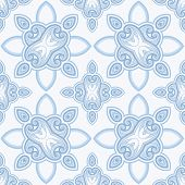 Patterned floor tile in oriental style vector background in blue and white colors. poster