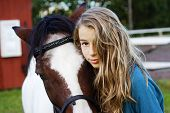 Closeup of an icelandic horse with girl poster