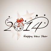 Happy New Year 2014 celebration background with stylish text colorful Xmas ball on seamless star background.  poster