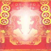Year of Horse graphic design on abstract background , raster poster