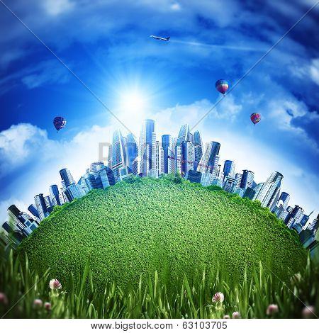 Global eco transportation concept for your design poster