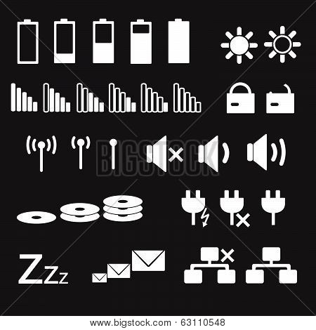 laptop and pc indication status white icons eps10