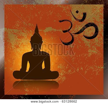 Buddha and om symbol