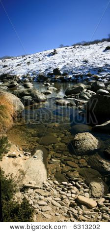 Panorama Of A Winter Mountain Stream With Snow