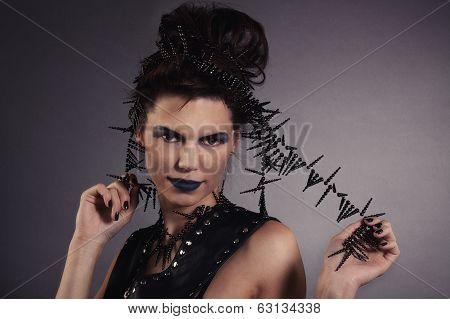 Portrait Of Pretty Creative Woman With Blue Lips. Rocker Style.