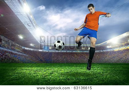 Football player in action on field of stadium