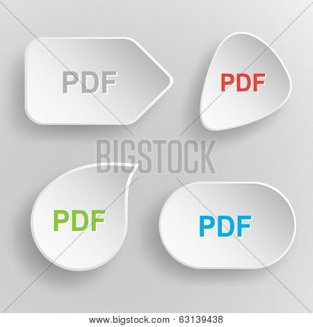 Pdf. White flat vector buttons on gray background.