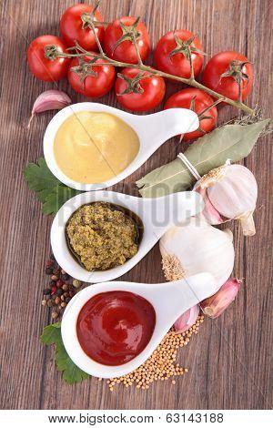 ketchup,mayonnaise and pesto