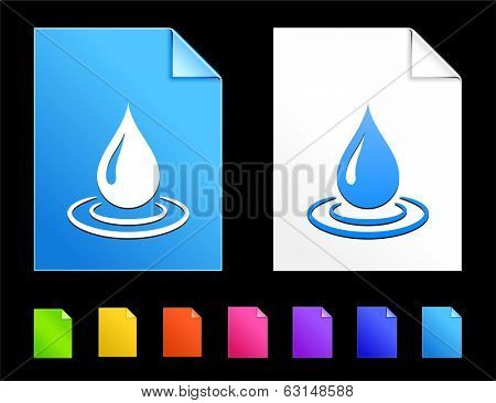 Raindrop Icons on Colorful Paper Document Collection