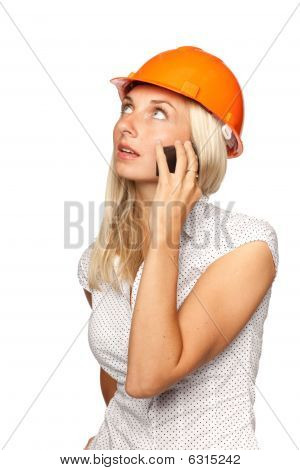 Female Architect With A Mobile Phone