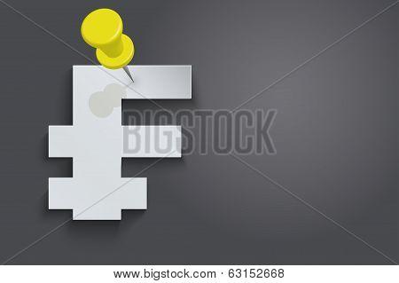 Background of Franc symbols pinned pushpin
