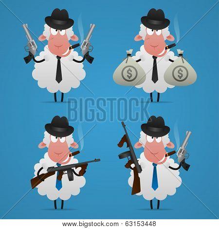 Illustration, set sheep gangster in different poses, format EPS 10 poster