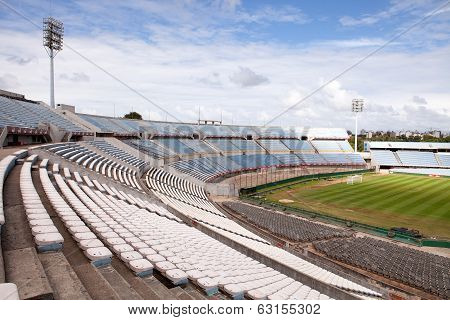 MONTEVIDEO, URUGUAY - MAR 19 2014 : The Centenario stands empty awaiting the next match.
